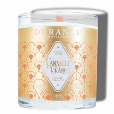 Durance mirisna svijeća s drvenim fitiljem mirisa Cimet naranča
